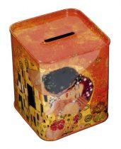 Fémdoboz persely 7,5x9,2x7,5cm,Klimt:The Kiss