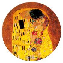 Táskatükör fém, egyoldalas, 7,6cm,Klimt:The kiss