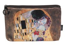 Kozmetikai táska 19x2,5x13cm, polyester, Klimt:The Kiss
