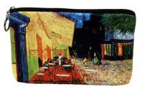 Kozmetikai táska 19x2,5x13cm, polyester,Van Gogh:Kávéház éjjel