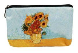 Kozmetikai táska 19x2,5x13cm, polyester,Van Gogh:Napraforgók