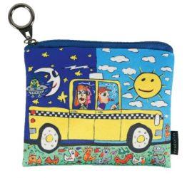 Mini pénztárca, polyester,12x1,5x10cm,James Rizzi:Taxi and Some Pigeons