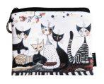 FRI.19284 Mini pénztárca, polyester,12x1,5x10cm,Rosina Wachtmeister:Cats Sepia