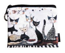 Mini pénztárca, polyester,12x1,5x10cm,Rosina Wachtmeister:Cats Sepia