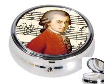 Gyógyszeres fémdoboz 3 fakkos 6x2,1cm,Mozart