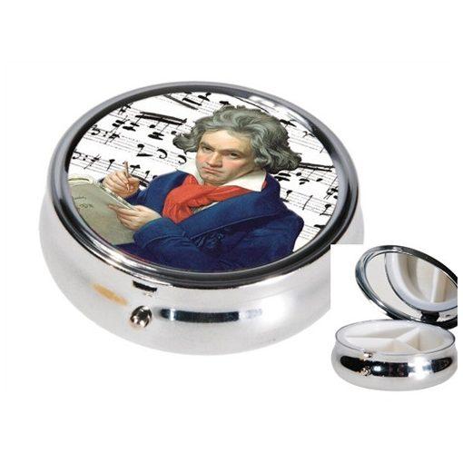 Gyógyszeres fémdoboz 3 fakkos,6x2,1cm,Beethoven