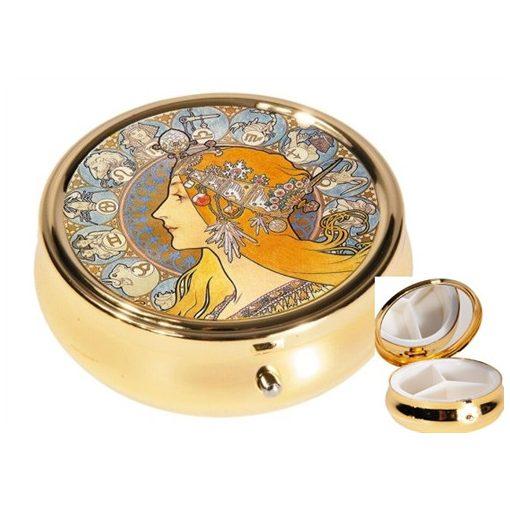 Gyógyszeres fémdoboz 3 fakkos,6x2,1cm,Mucha:Zodiak