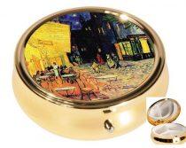 Gyógyszeres fémdoboz 3 fakkos 6x2,1cm Van Gogh:Kávéház éjjel