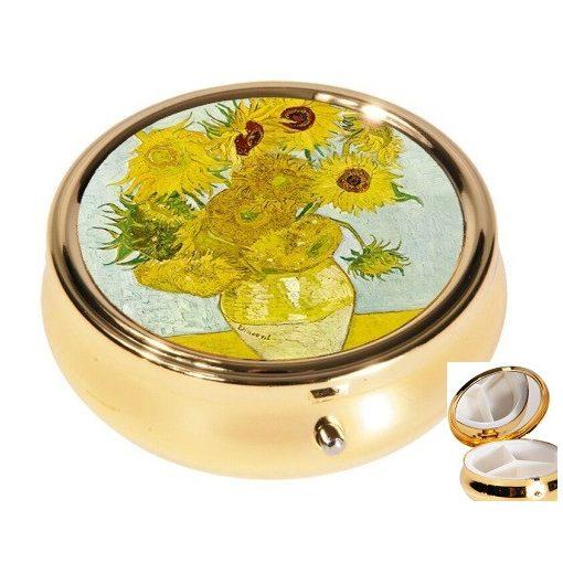 Gyógyszeres fémdoboz 3 fakkos 6x2,1cm Van Gogh:Napraforgók
