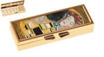 Gyógyszeres fémdoboz 7 fakkos 10x1,8x3cm,Klimt:The Kiss