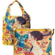 Táska a táskában, polyester,Klimt:Lady with Fan,42x48cm,összehajtva 16x13cm