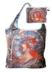 FRI.40521 Táska a táskában,polyester,Mucha:Zodiak,42x48cm,összehajtva:16x13cm