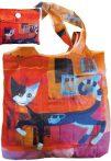 FRI.40712 Összezárható bevásárlótáska,polyester,Rosina Wachtmeister:Ivano with mouse,40x40cm,összehajtva:9x9cm