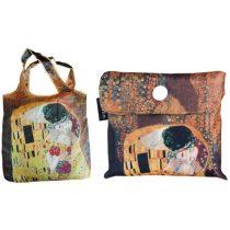 Összezárható bevásárlótáska,polyester,Klimt:The Kiss 40x40cm,összehajtva 9x9cm