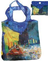 Összezárható bevásárlótáska,polyester,Van Gogh:Kávéház éjjel 40x40cm,összehajtva:9x9cm