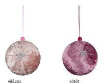Textilgömb függődísz, rózsaszín 8cm, (plüssös)