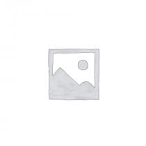 Fagyos, ezüstös üveg mécsestartó csillagokkal, 10x12,5cm
