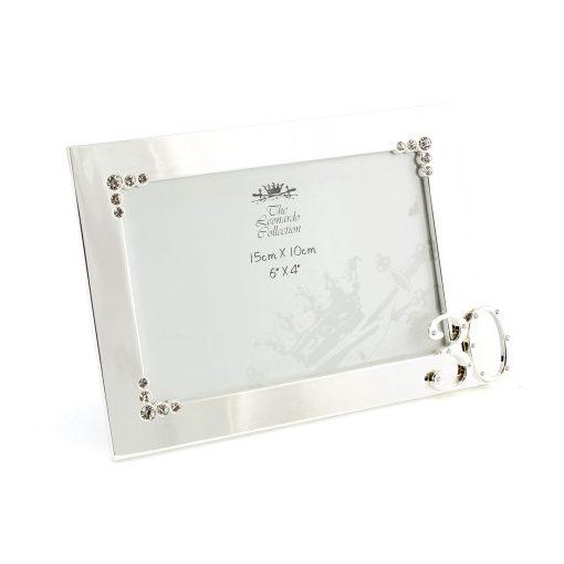 Ezüst színű képkeret,15x22cm (fotó:15x10cm) fém, 30éves
