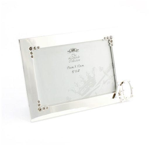 Ezüst színű képkeret 15x22cm,(fotó 15x10cm) fém,40éves