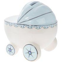 Porcelánpersely dobozban, babakocsi kék, 12x9x11cm