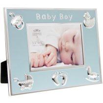 Fotókeret 22x2x17cm, fém, Baby Boy