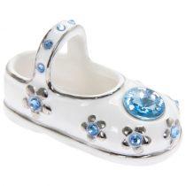 Kék köves porceláncipő 2db-os, dobozban, 6x3x3cm