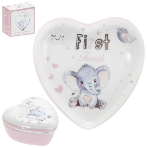 Első fog porcelándoboz rózsaszín, 7x4x7cm, Bird & Ellie