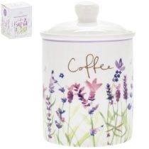 Porcelán kávétároló 11x11x16cm, Lavender