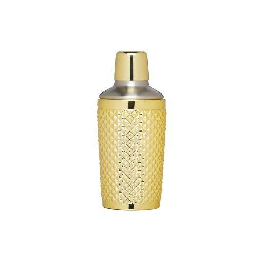 Üveg coctailshaker fémtetővel, 300ml, arany színű bevonattal, BarCraft