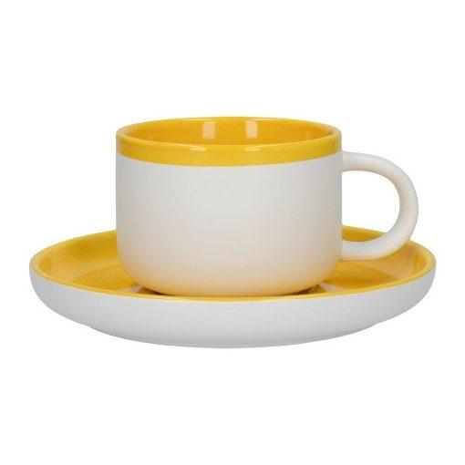 Kerámia teáscsésze+alj,260ml,mustársárga-fehér,Barcelona,La Cafetiére