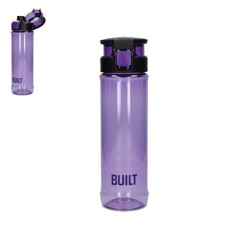 BPA mentes műanyag útipalack nyomógombos nyitóval,felnyitható füllel,710ml,lila,Built