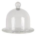 CLEEF.6GL3420 Üvegtálka üvegbúrával, 13x12cm, Sweet Home
