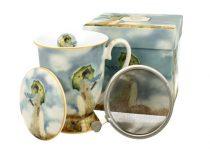Porcelánbögre tetővel,fémszűrővel,dobozban,300ml,Monet:Hölgy esernyővel