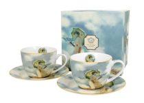 Porceláncsésze+alj 2 személyes, 280ml, dobozban, Monet: Hölgy esernyővel