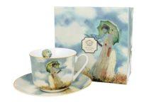 Porceláncsésze+alj dobozban, 450ml, Monet: Hölgy esernyővel