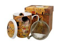 Porcelánbögre tetővel,fémszűrővel,dobozban,380 ml,Klimt: The Kiss