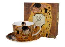 Porceláncsésze+alj ,450 ml,dobozban,  Klimt: The Kiss