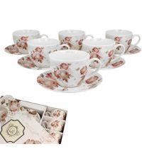 Porceláncsésze+alj, 250ml, 6 személyes dobozban, Secesja