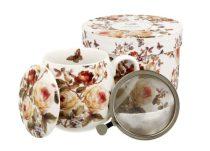 Porcelánbögre tetővel, fémszűrővel, 430ml, dobozban, Zahra