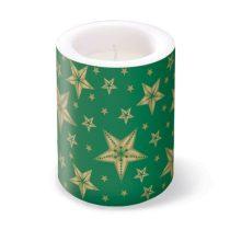Beautiful Stars Green átvilágitós gyertya 10x12cm