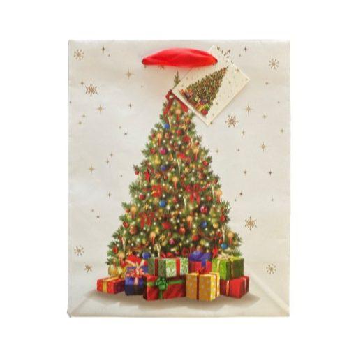 Karácsonyfa ajándék táska (25x20x10cm)
