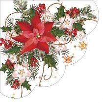Poinsetia composition papírszalvéta 32cm,12db-os