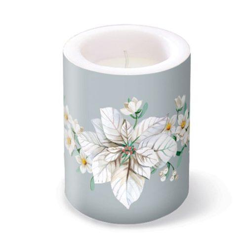 White Poinsettia Silver átvilágitós gyertya 10x12cm