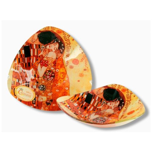 Üvegtányér háromszögű, 17x17cm Klimt: The Kiss