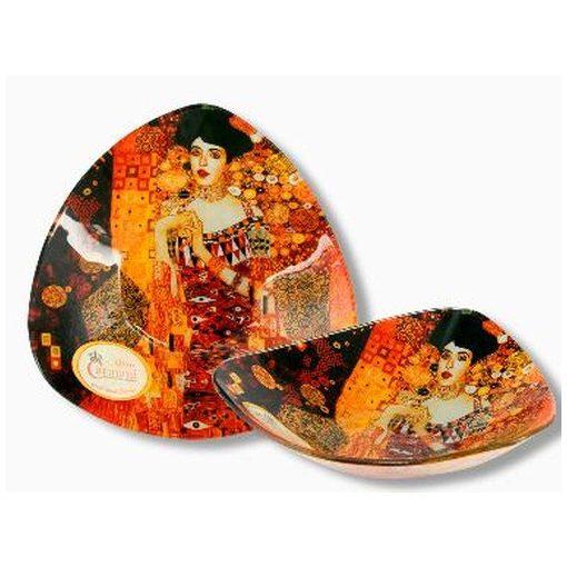 Üvegtányér háromszögű, 17x17cm  Klimt: Adele Bloch