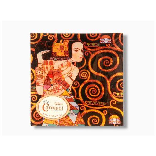 Üvegtányér 15x15cm Klimt:Várakozás