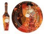 """H.C.198-1715 Üvegtányér lapáttal 30cm, Klimt:Adele Bloch"""""""""""