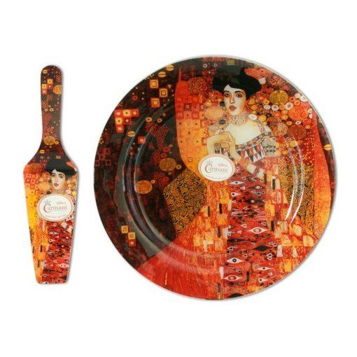"""Üvegtányér lapáttal 30cm, Klimt:Adele Bloch"""""""""""