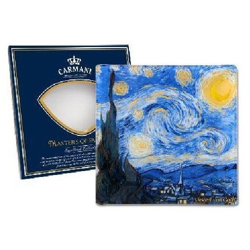 Üvegtányér 13x13cm,Van Gogh:Csillagos éj