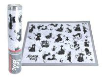 Szövött jellegű tányéralátét 29,5x40cm,polyester,fehér alapon fekete macskás